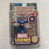 Marvel Legends Captain America Series 1 2002 Toy Biz Action Figure w/ Comic Book