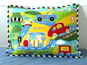Cars Trucks Roads Standard Pillow Sham Red Yellow Blue Green California Kids