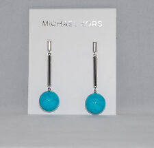 "Michael Kors Silver Tone Turquoise Drop Earrings NWT 2.2"" $95"