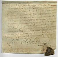 1650 LOUIS XIV royal notary manuscript parchment 1p ROYAL WAX SEAL DAMAGED