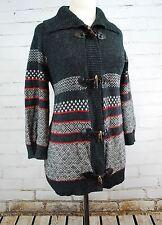 SPLENDID Toggle Cardigan Sweater - Black/Gray/Red Nordic Fair Isle Women's Large