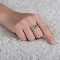 3Ct Oval Cut Emerald Diamond Halo Split Band Engagement Ring 14K White Gold Over