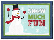 6 Christmas Greeting Card Lot Set - Snow Much Fun - Handmade A2 size in Gift Box