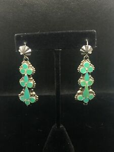 Vintage Zuni Handmade Dishta-Style Turquoise Inlay Sterling Silver Earrings