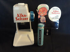 Old Vtg Collectible Alka Seltzer Dispenser Complete & Working Sign And Container