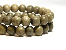 50 8mm Light Gray Wood Beads Wooden Round Nature DIY Craft D-P10