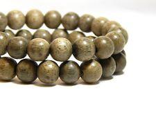 50 8mm Light Gray Wood Beads Wooden Round Nature DIY Craft D-P10