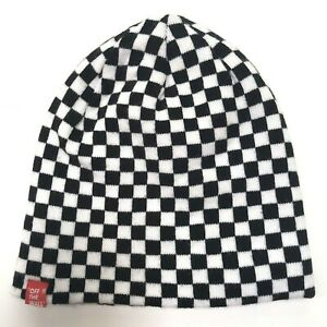 Vans Off the Wall Beanie Hat Black and White Checkered Reversible Logo Spell out