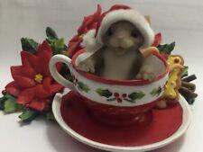 "Charming Tails ""Oh Christmas Tea"" Mouse Poinsettias Tea Cup 87/167 3 1/4"" tall"