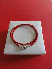 Pandora Red Leather Double Bracelet 19cm (Medium)
