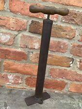 Antique Vintage Stirrup Tyre Tire Pump Brass? Wood Made In England Classic Car