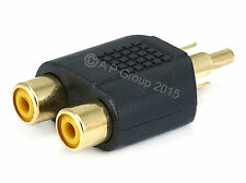 GOLD RCA Audio Cable Y Splitter Adapter Twin Phono Female to Single RCA Male