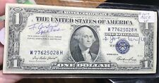 1935 E $1 DOLLAR BILL OLD US PAPER MONEY CURRENCY BLUE SEAL COLLECTOR NOTE.5028H