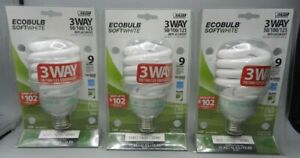 3 New Old Stock Unopened Packages Feit 3-Way 12, 21, 32 W Ecobulbs Light Bulbs