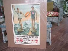 VINTAGE EVERY SCOUT A SWIMMER POSTER RARE BOY SCOUT POSTER