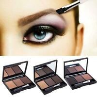 Makeup Natural Eyebrow Powder Palette Eye Shadow Kit w/ UK Cosmetic Brush G5C9