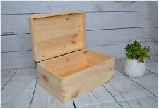 Plain Pine Wood Storage Keepsake Wooden Souvenirs Gift Box with Lid Chest Trunk