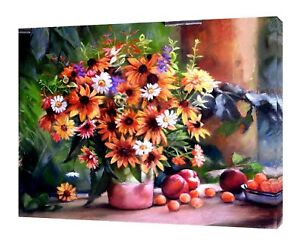 FRUITS MIX CHAMOMILE DRAWN CHARCOAL SOFT PASTEL PRINT ON FRAMED CANVAS