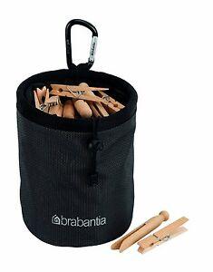 New Brabantia Clothes Peg Bag Black Drawstring Spring Clip 2 Year Guarantee