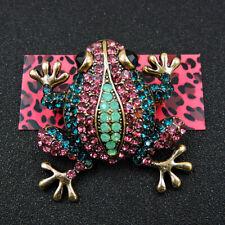 Rhinestone Frog Blue Pink Crystal Animal Betsey Johnson Charm Brooch Pin