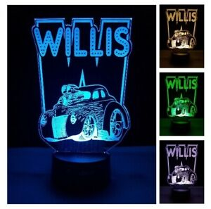 Hot Rod Muscle Car Led Night Light Personalised Name Remote 7 Color Change