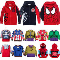 Kids Boys Superhero Spiderman Hoodies Sweatshirt Coat Jacket Top Outwear Costume