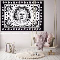 Black & White Sun Moon Indian Hippie Tapestry Indian Wall Hanging Tapestry Decor