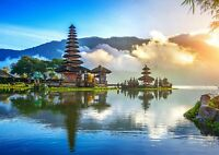 Cool Lake Temple Poster Size A4 / A3 Bali Indonesia Landscape Poster Gift #12656