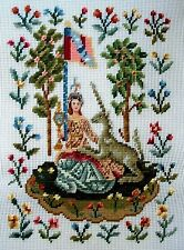EP 1080/1 Vintage Medieval Lady & Unicorn Preworked Design Needlepoint Canvas