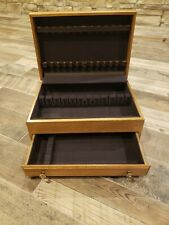New listing Vintage Silverware Flatware Wooden Chest Box Anti Tarnish 17x12x7.5