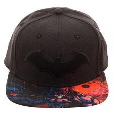 DC Comics Batman Black Gray Sublimated Visor Snapback Hat Cartoon Character Cap