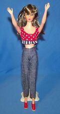 Vintage Barbie Tressy Mitzi Blue Denim Pants Red Crop Top Tennis Shoes Set