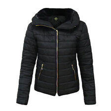 Womens Kids Ladies Quilted Padded Puffer Bubble Fur Collar Warm Jacket Coat Medium Black