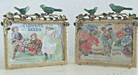 """Pair (2)  Enameled Blue Bird Gold Picture Photo Frames 3""""x4"""" from Pier1 Imports"""