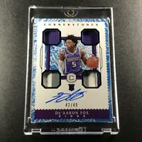 DE'AARON FOX 2017 PANINI CORNERSTONES #155 QUAD PATCH AUTO ROOKIE RC /49 KINGS