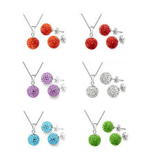 Exquisite Round Necklace Jewelry Set Accessories Clear Simple Crystal Earring