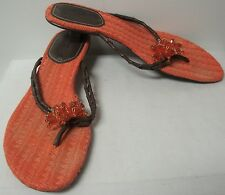COLE HAAN PINK FLIP FLOP SANDALS WITH BEADED FLOWER ON THE STRAP SIZE 8 B EUC