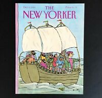 Vintage October 1989 New Yorker Magazine Cover Columbus Sailing Boat Ship Art