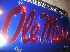 "Ole Miss Rebels "" Ole Miss "" Blue / Mirrored / Red License Plate / Car Tag"