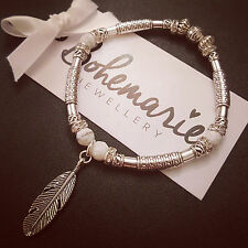 White howlite feather charm silver tube bracelet gemstone bijoux jewellery