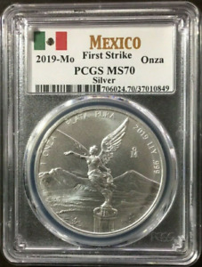 :2019-Mo 1-ONCE MEXICO LIBERTAD WINGED VICTORY KM#639 PERFECT PCGS MS-70 TOP POP