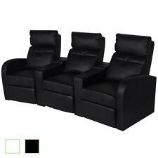 Fernsehsessel Kinosessel Relaxsessel Heimkino Liege Sofa 3-Sitzer weiß/schwarz