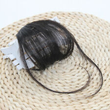 Clip on Human Hair Extensions Thin Neat Air Bangs Fringe Remy Human Hairpiece