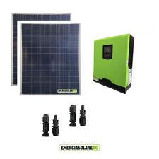 Kit impianto solare fotovoltaico 400W con inverter ibrido ad onda pura 1Kw 12V