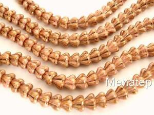25 8mm Czech Glass Bell Flower Beads: Luster - Opaque Rose/Gold Topaz
