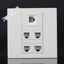 Wall Socket 5 Port Socket 4 port CAT5E & 1 port TEL Panel Faceplat RJ45 RJ11