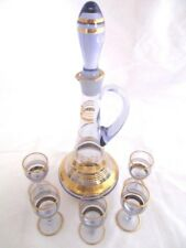 Vintage 1970's Light Purple/Bluish Gold Leafed Sherry Decanter plus 5 Glasses.