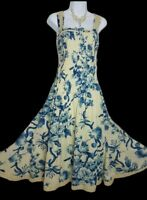 Per Una M&S dress 12 L blue cream sepia floral Cotton Fit flare godets midi VGC