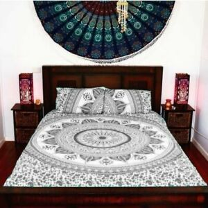 Indian Gray Ombre Mandala Duvet Doona Quilt Cover King Size Bedding Throw Set