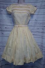 Vtg 50s Vicky Vaughn Xs S Dress Rockabilly Crochet Ruffles Tea Semi Sheer Pin up